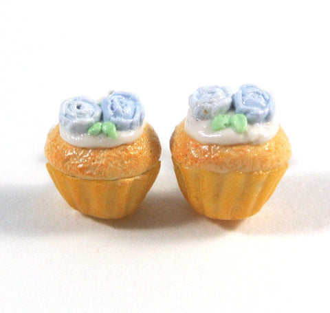 Blue Rose Cupcake Ear Studs