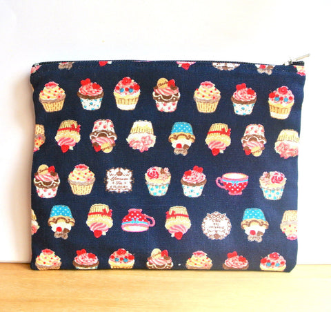 Navy Blue Cupcake Pouch (L)