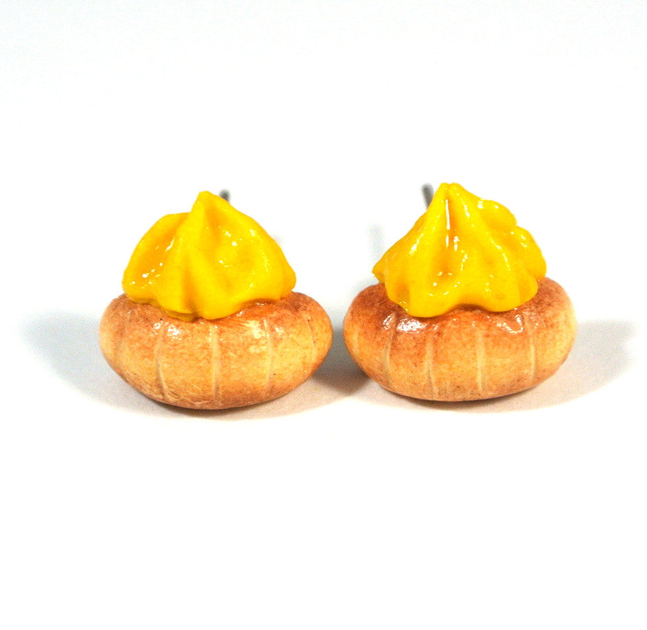 Gem Biscuit Ear Studs (Yellow)