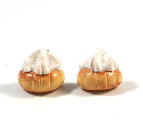 Gem Biscuit Ear Studs (White)