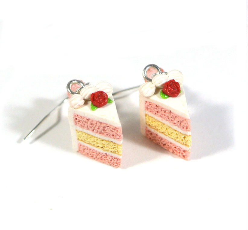 Strawberry Vanilla Rose Cake Slice Earrings - Gemnesis