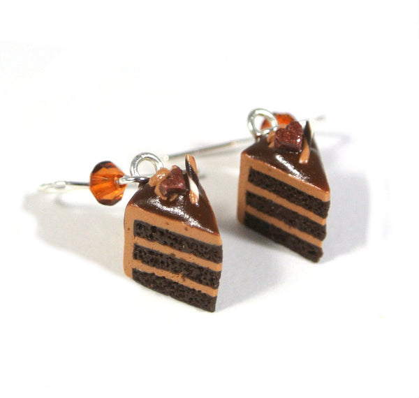 Chocolate Delight Cake Slice Earrings - Gemnesis