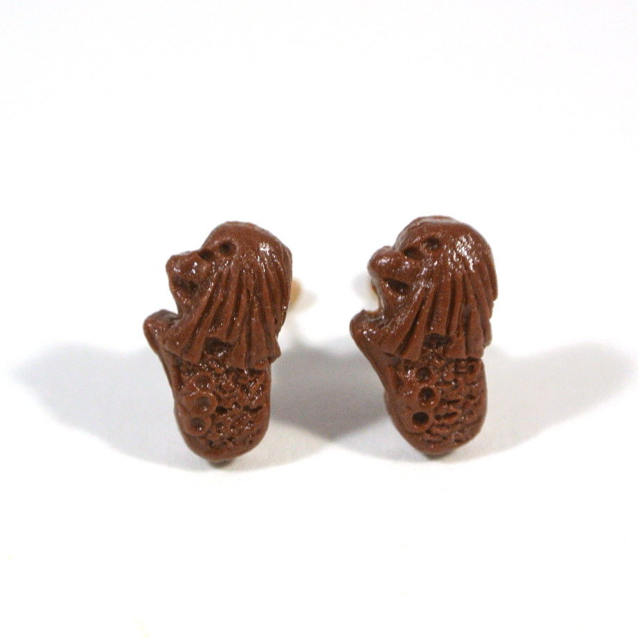 Merlion Ear Studs-Chocolate - Gemnesis