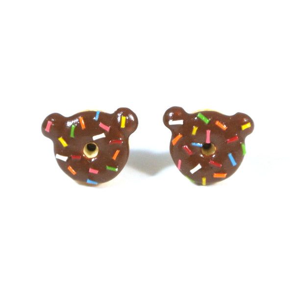 Chocolate Bear Donut Ear Studs - Gemnesis