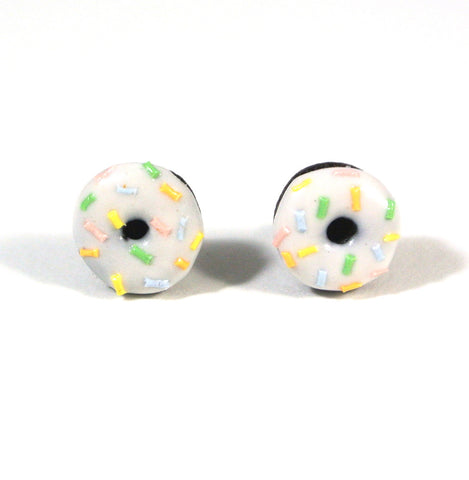 White Chocolate Sprinkle Donut Ear Studs - Gemnesis