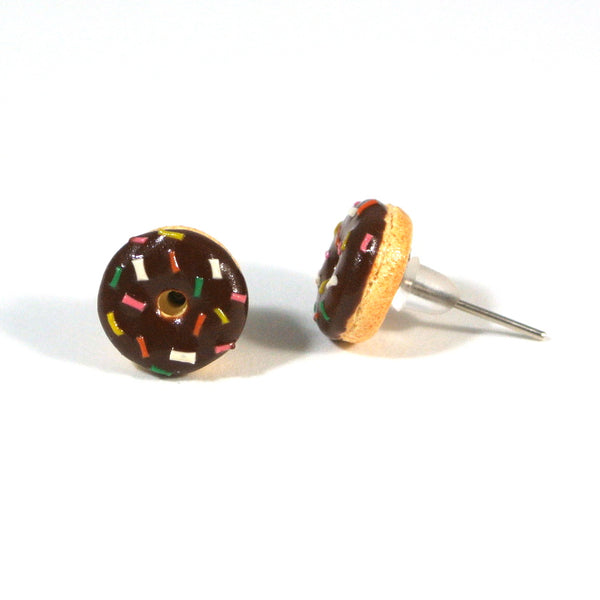 Chocolate Sprinkle Donut Ear Studs - Gemnesis
