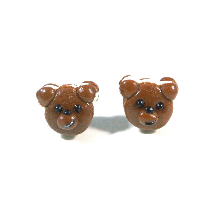Bear- Brown Bear Macaron Ear Studs - Gemnesis