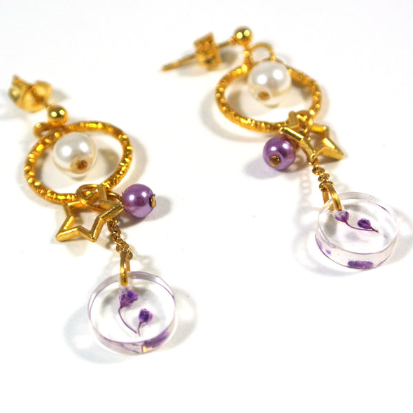 xResin Jewelleryx: Purple Baby Breath Dangle Earrings - Gemnesis