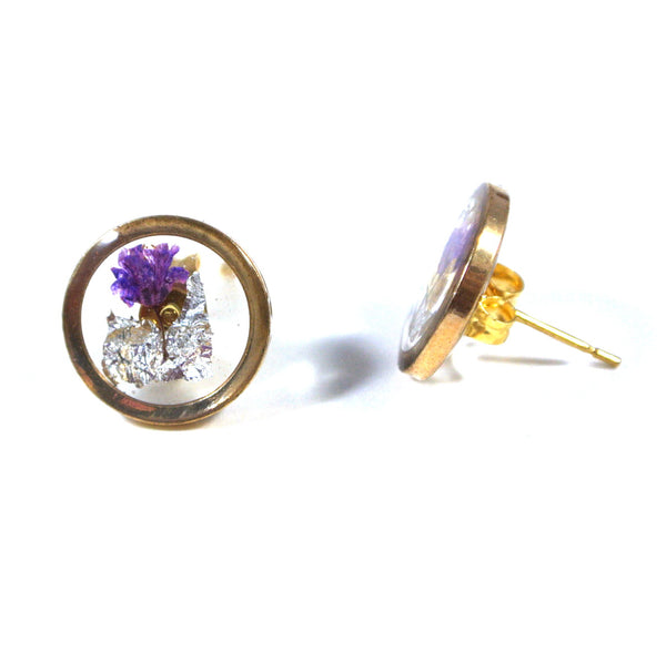 xResin Jewelleryx: Gold Purple Floral Ear Studs - Gemnesis