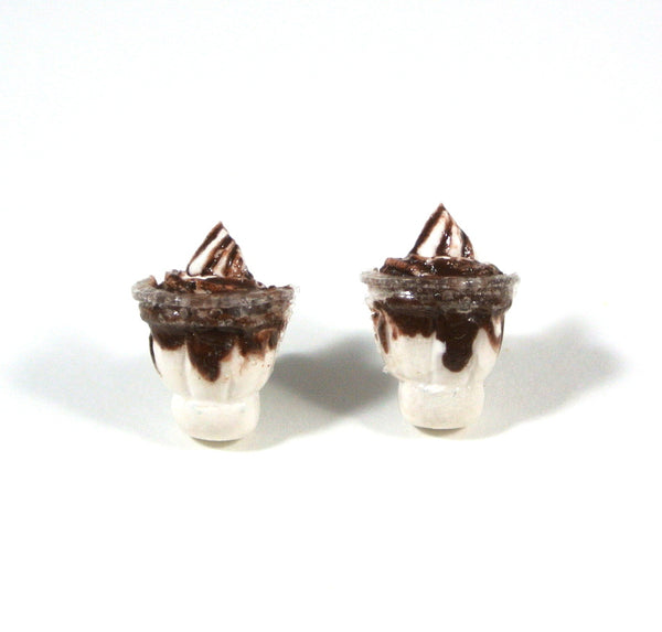Chocolate Ice Cream Sundae Ear Studs - Gemnesis