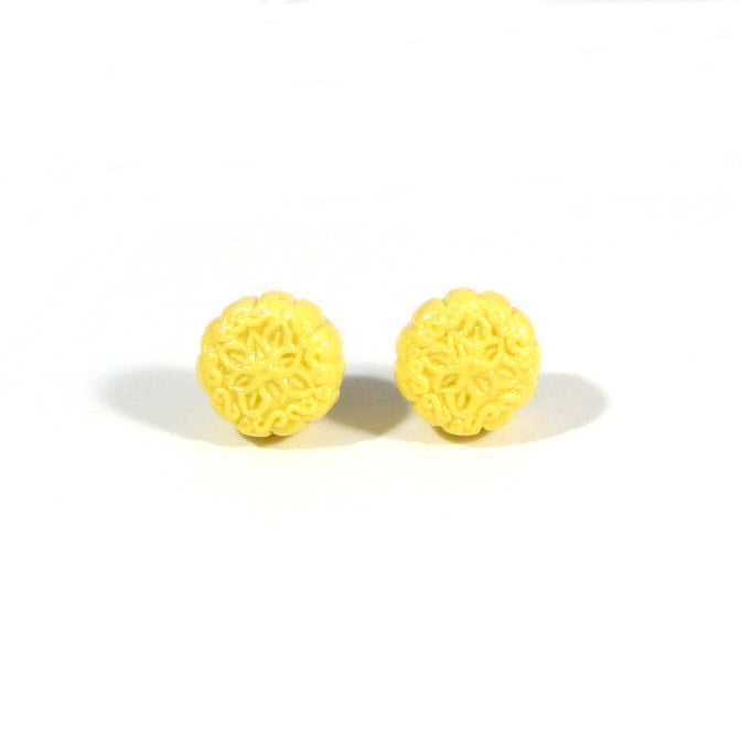 Mooncake- Yellow Snow Skin Ear Studs - Gemnesis