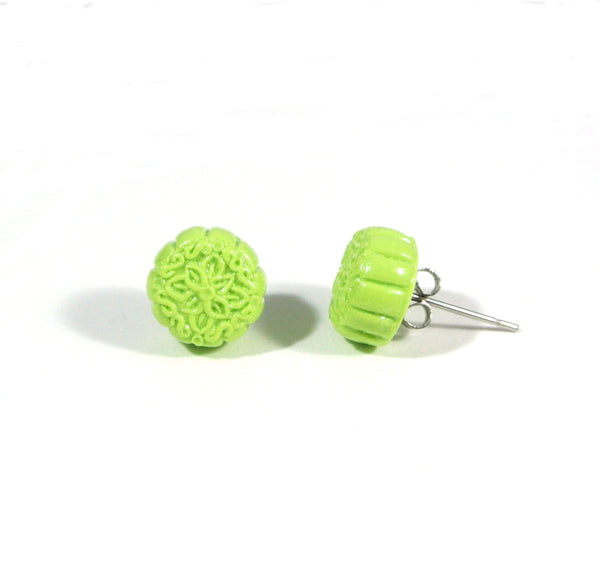 Mooncake- Green Snow Skin Ear Studs - Gemnesis