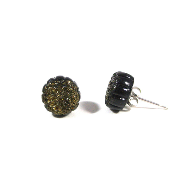 Mooncake- Black Snow Skin Ear Studs - Gemnesis