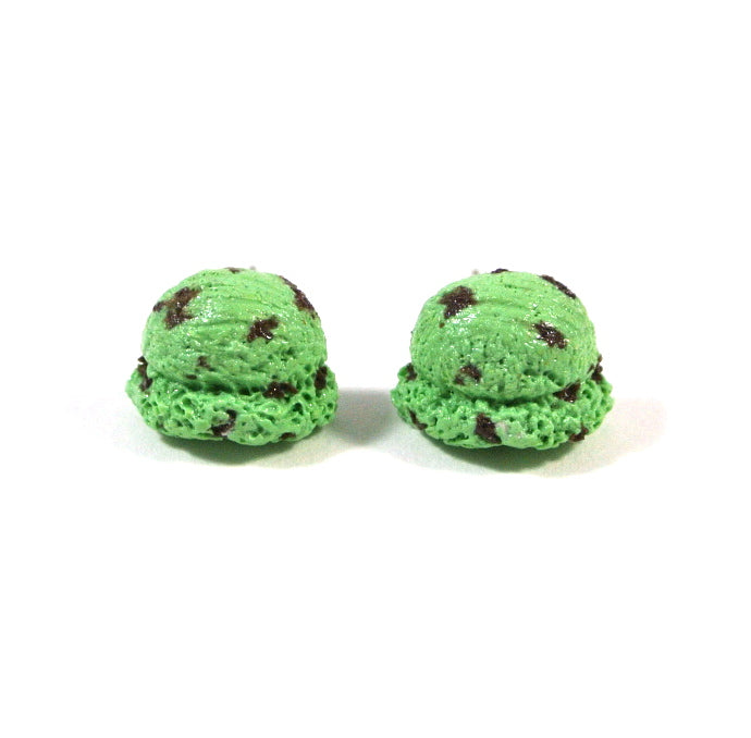 Ice Cream Scoop Ear Studs (Mint Choc Chip)
