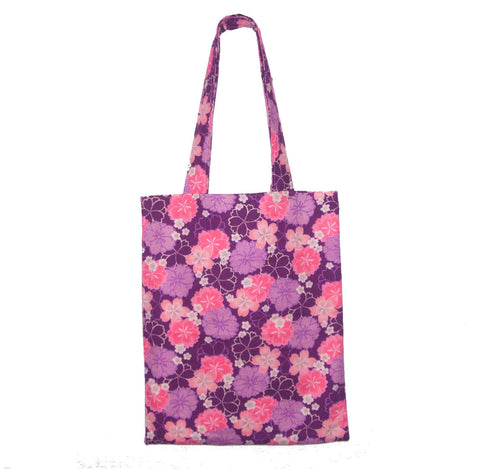 Tote Bag- Japanese Floral (Pink and Purple) - Gemnesis