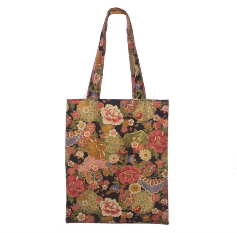 Tote bag- Japanese Floral (Black and Gold) - Gemnesis