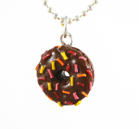 Chocolate Rainbow Rice Donut Necklace - Gemnesis