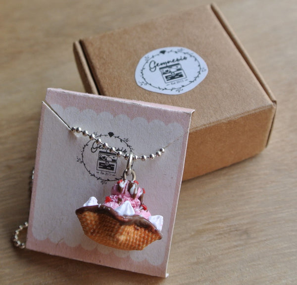 Strawberry Ice Cream Waffle Bowl Necklace - Gemnesis