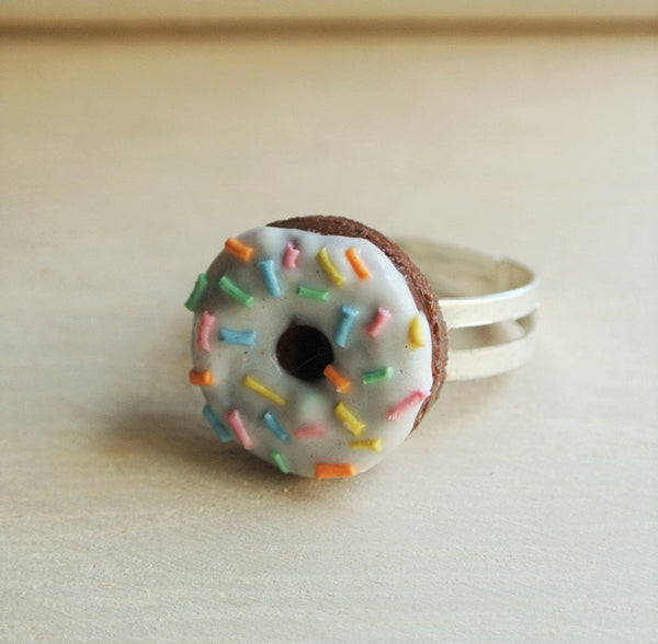 White Chocolate Rainbow Rice Donut Ring - Gemnesis