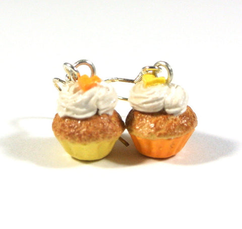 Orange and Yellow Cupcake Mismatch Earrings - Gemnesis