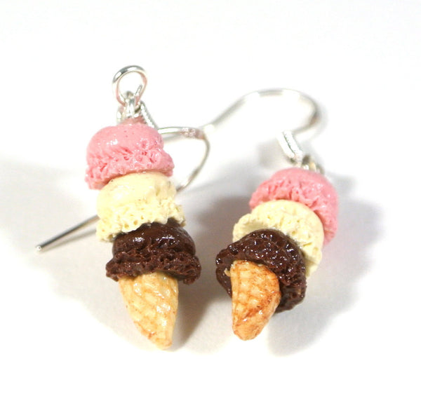 Three Scoop Neapolitan Ice Cream Earrings - Gemnesis