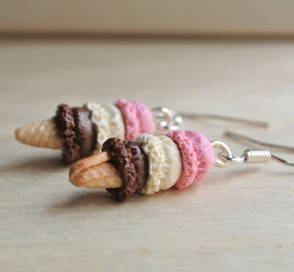 Three Scoop Neapolitan Ice Cream Earrings
