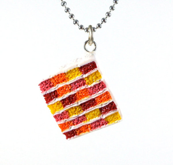Colourful Checkered Board Cake Necklace - Gemnesis