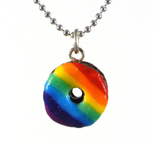 Rainbow Glaze Donut Necklace - Gemnesis