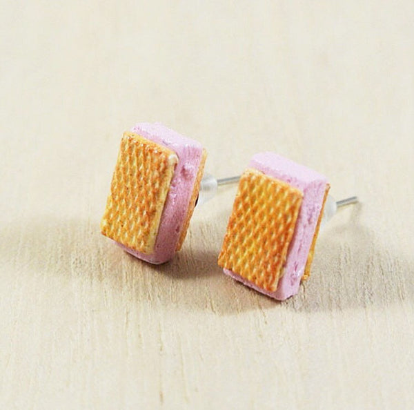 Strawberry Waffle Ice Cream Sandwich Ear Studs - Gemnesis