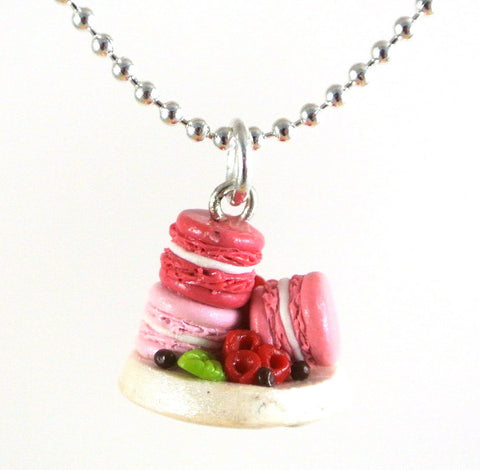 Pink Macarons on a Plate Necklace - Gemnesis