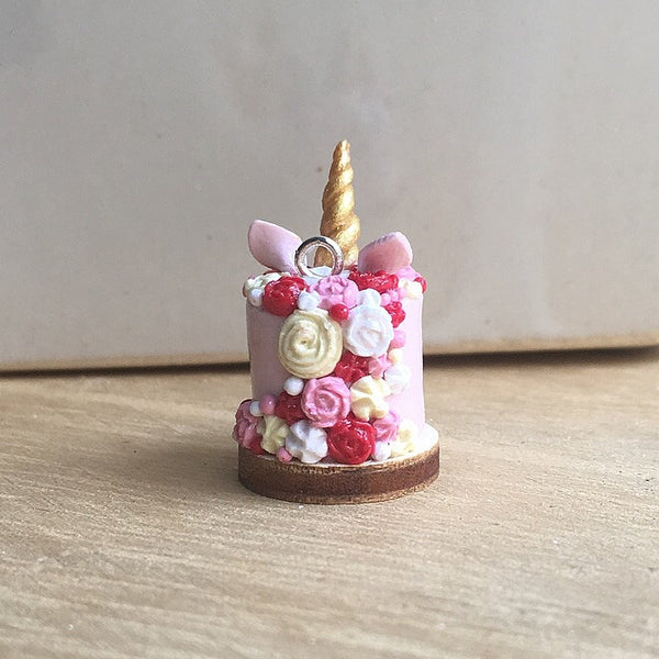 Pink Unicorn Cake Necklace (Pink, Red, White)