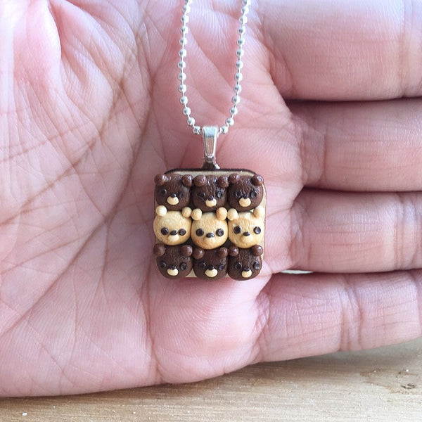 Teddy Bear Bread Bun Necklace - Gemnesis