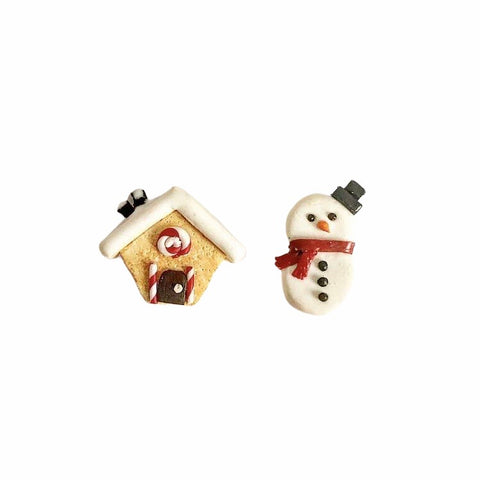 Christmas Ear Studs (Gingerbread house and snowman)
