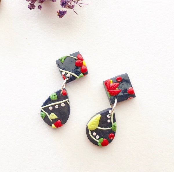 XstatementX: Floral on Navy Dangles 1