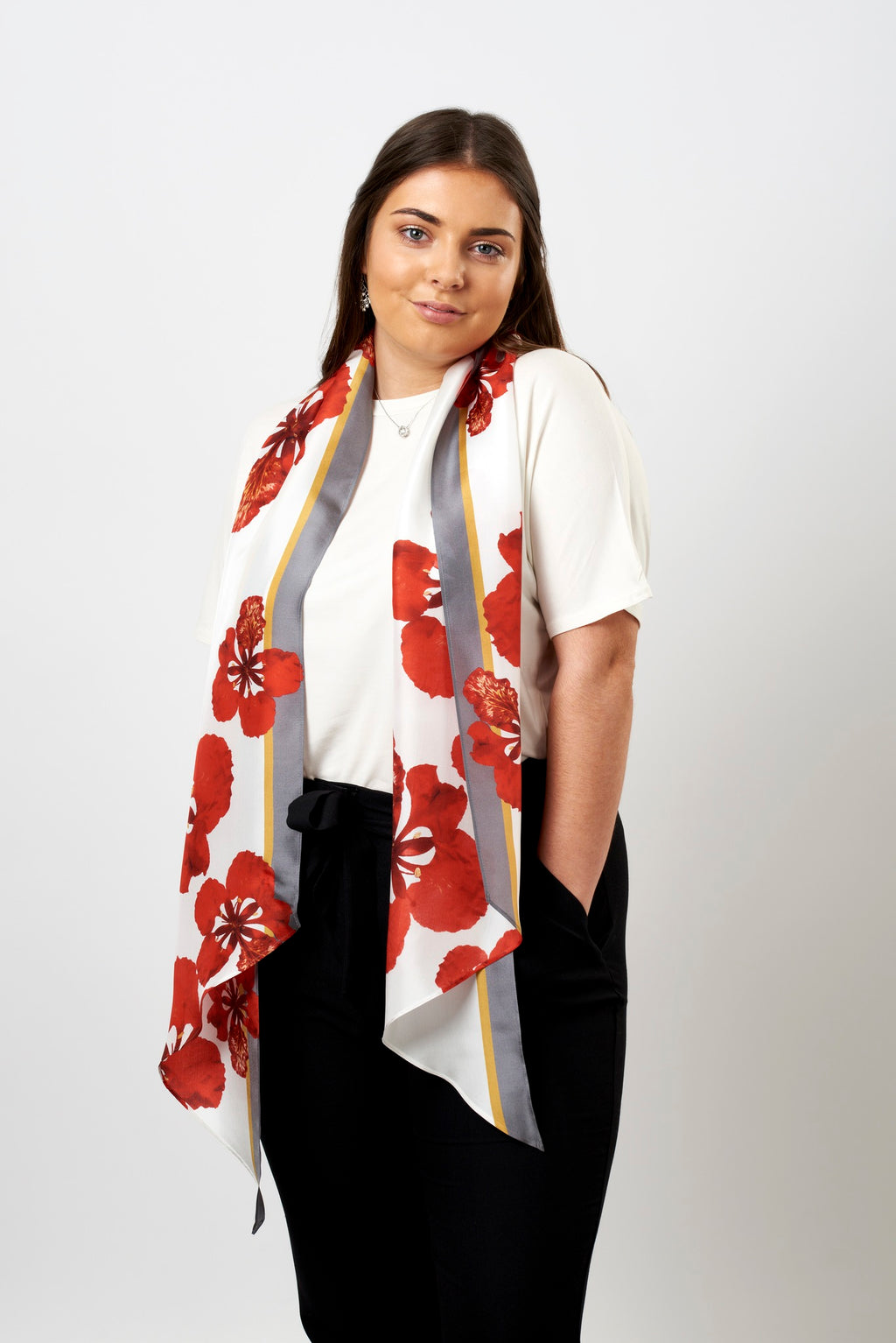 Flame flower long silk scarf