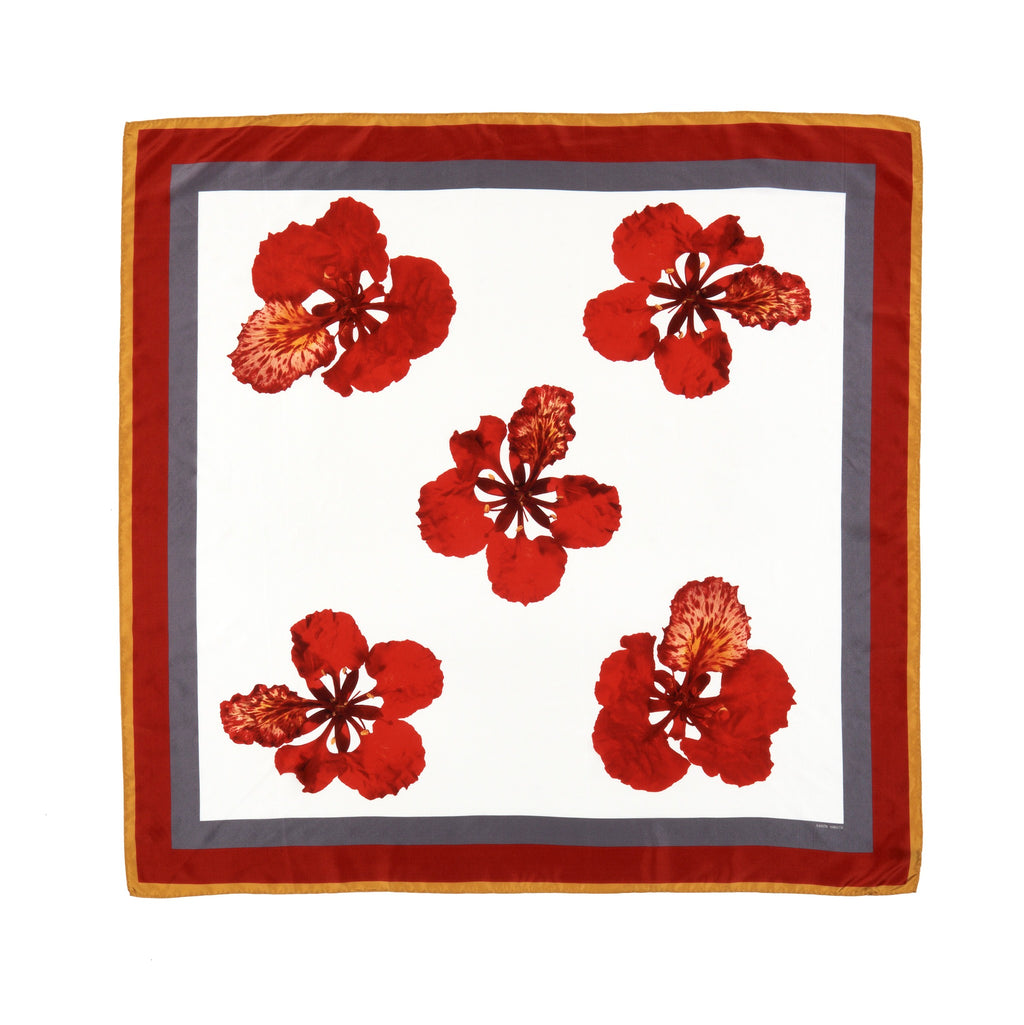 Flame flower silk square scarf