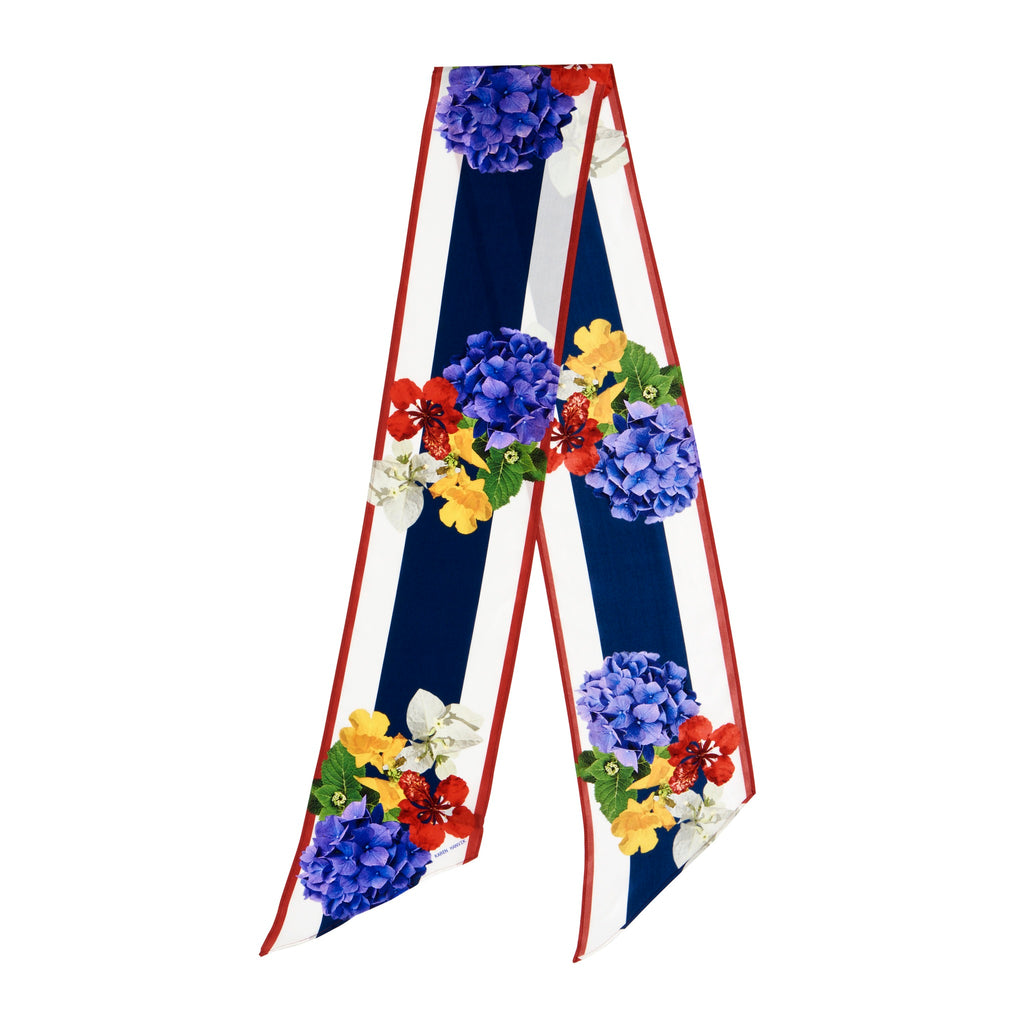 Midnight floral long silk scarf