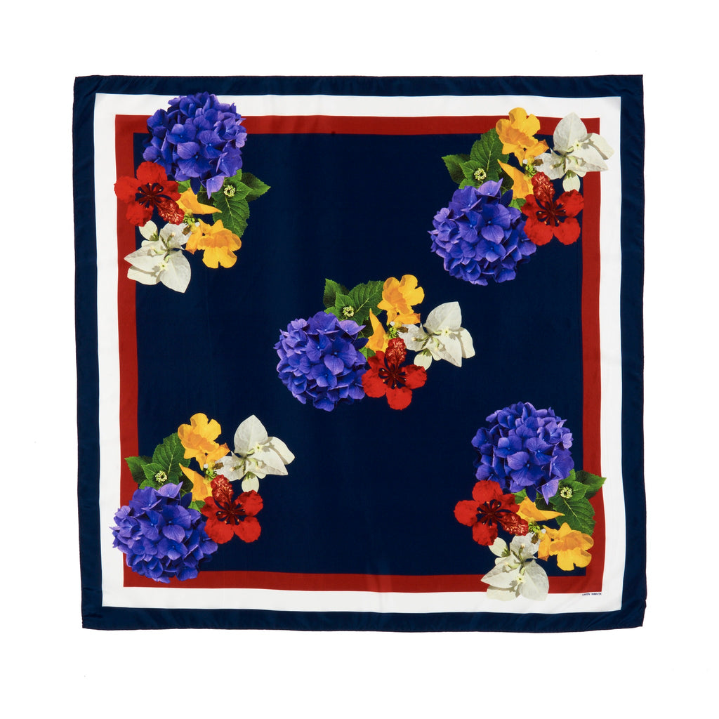 Midnight floral silk square scarf