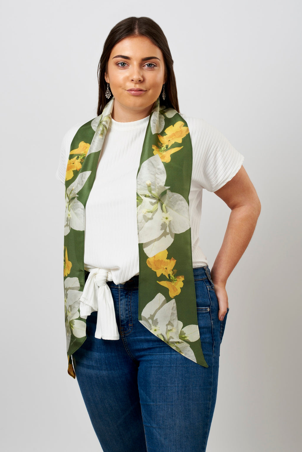 Trumpet flower long silk scarf