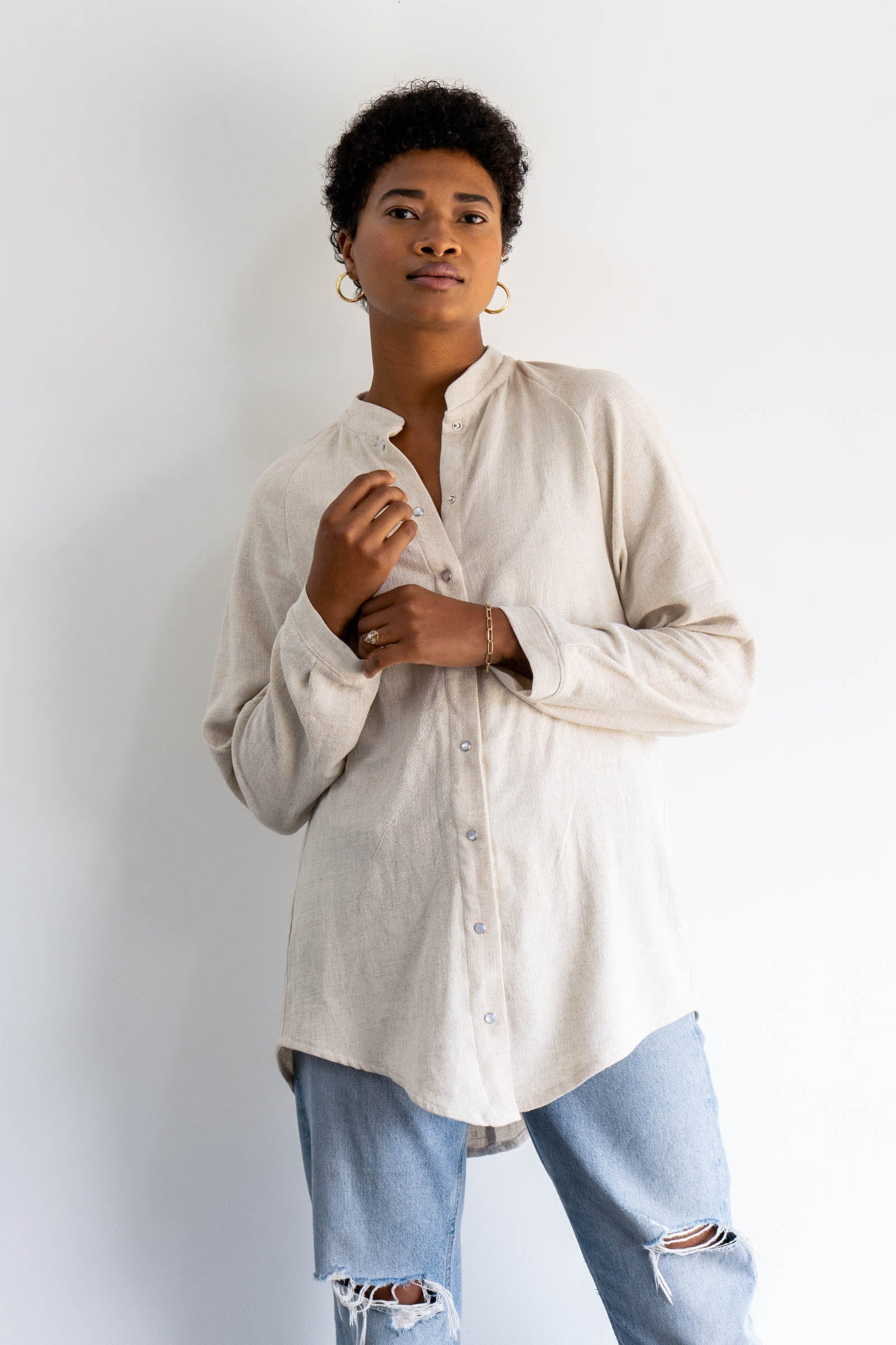 Lake Button Down Top in Cotton