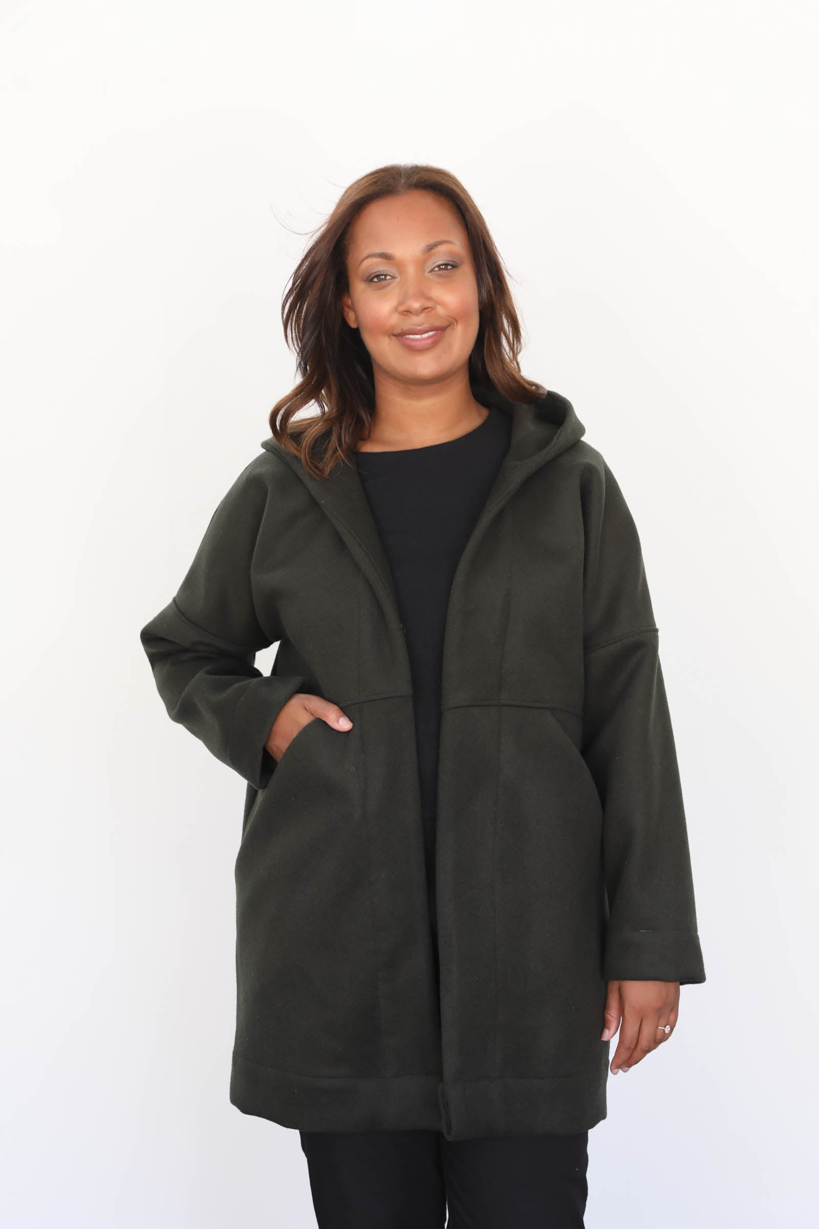Sonora Hooded Coat in Heavyweight Wool