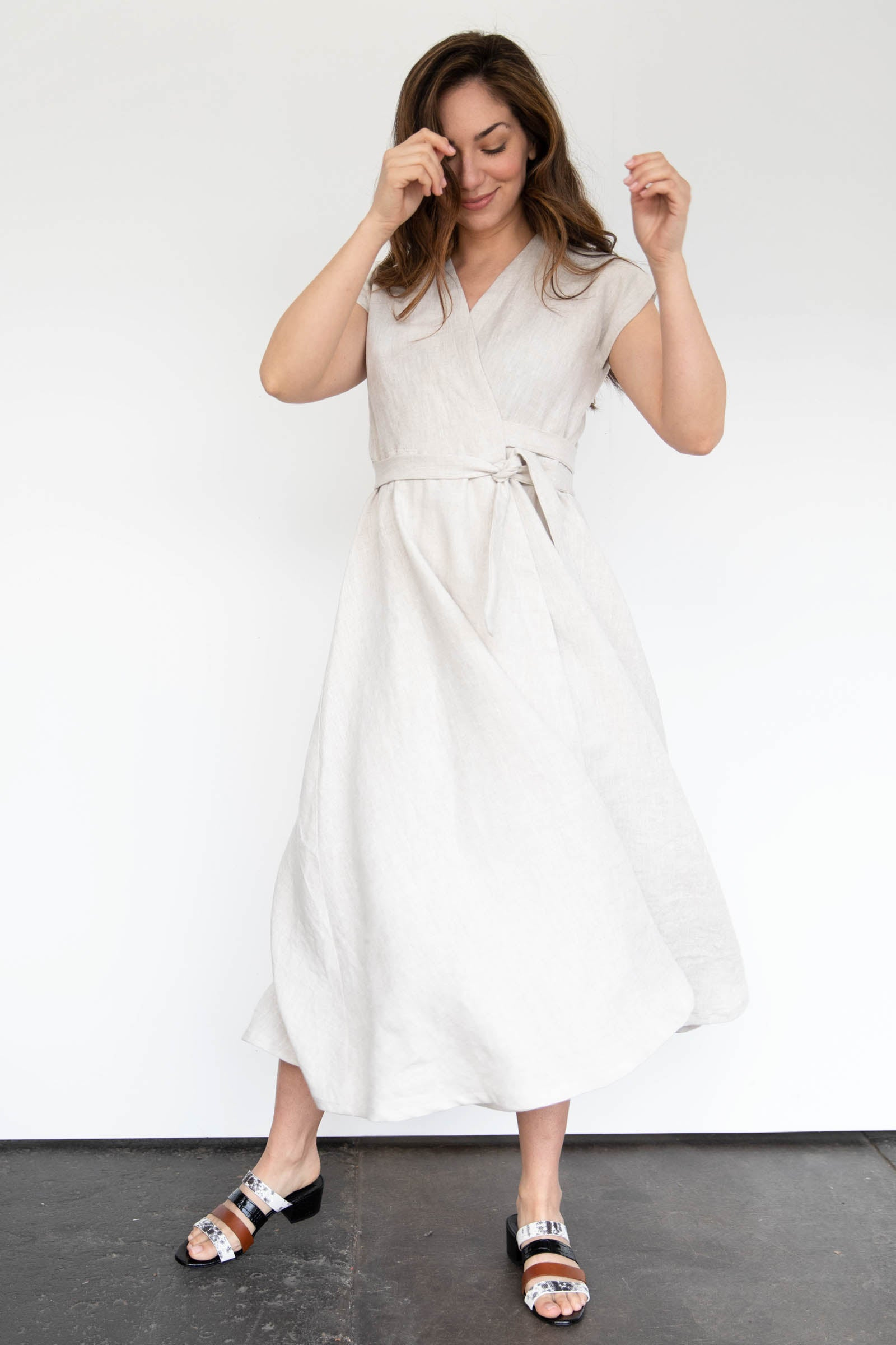 Palo Wrap Dress in Linen