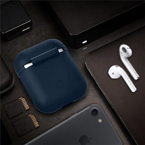 Apple AirPods Silicone Shock Proof Protective Case Loop Strap Firm Grip Black/Navy Blue