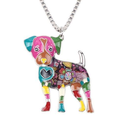 Jack Russel Dog  Enamel Necklace