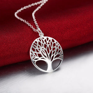 Life Tree Pendant Silver Plated Chain Necklace