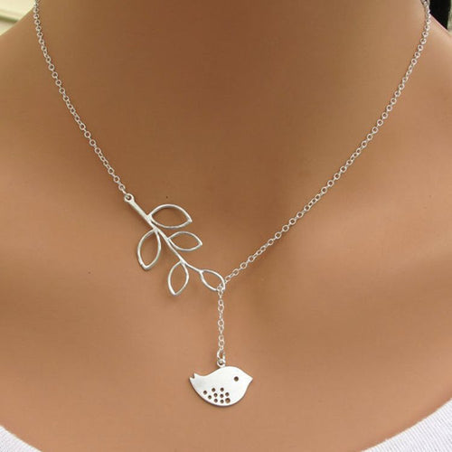 Hot fashion leaves bird pendant necklace