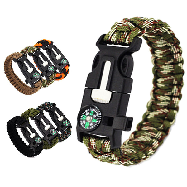 5 in 1 Outdoor rope Paracord Survival Bracelet Flint/ Whistle/ Compass