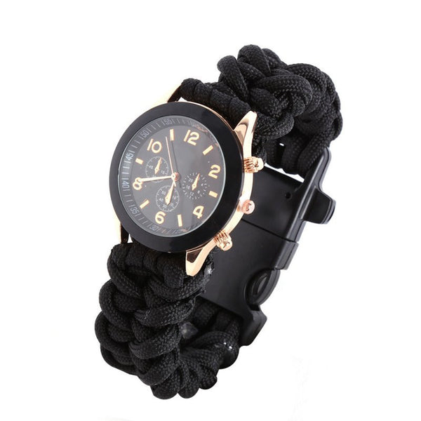 Survival Watch with Compass/ Flint/ Fire Starter/ Scraper/ Whistle