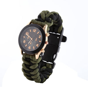Paracord Round Face Survival Watch with  Compass Flint Fire Starter Scraper Whistle
