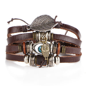 Evil Eye Owl Leather Bracelet For Women Men